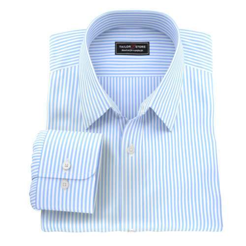 Classic blue stripe mens custom tailored made to measure shirt.
